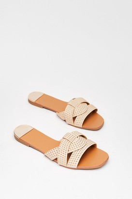Nasty Gal Womens Stud Never Look Back Faux Leather Flat Sandals - Beige