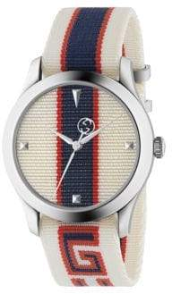 Gucci Stripe Textile-Strap Watch