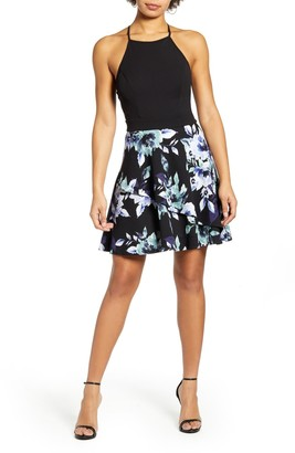 Speechless Floral Print Scuba Fit & Flare Minidress