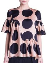Stella McCartney Dot-Print Ruffled Silk Blouse