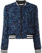 Alice + Olivia Alice+Olivia - sequin embroidery cropped bomber jacket - women - Silk/Polyester/Spandex/Elastane - XS