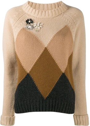 Semi-Couture Faux-Pearl Embellished Jumper