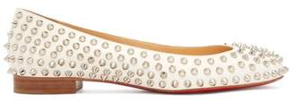 Christian Louboutin Babaspikes Leather Ballet Pumps - Womens - White Silver