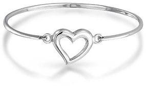 Bling Jewelry Open Heart Bangle Bracelet For Women Shinny High 925 Sterling Silver