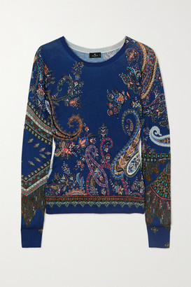 Etro Paisley-print Silk And Cashmere-blend Sweater - Blue