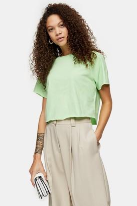 Topshop PETITE Light Green Raglan Crop T-Shirt