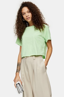 Topshop Womens Petite Light Green Raglan Crop T-Shirt - Light Green