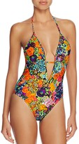 Milly Acapulco Floral Print Halter One Piece Swimsuit