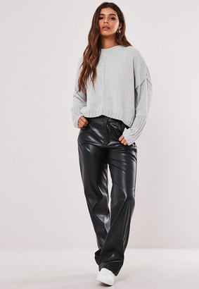 Missguided Grey Wide Sleeve Chenille Cropped Jumper