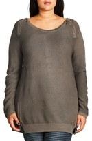 City Chic Plus Size Women's Zip Detail Crewneck Sweater