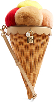 Dolce & Gabbana Ice-cream cone fur and woven shoulder bag