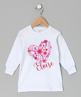 Initial Request Women's Tee Shirts White - White Flower Heart Personalized Long-Sleeve Tee - Girls