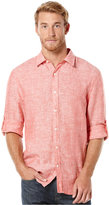 Perry Ellis Men's Long Sleeve Solid Linen Shirt