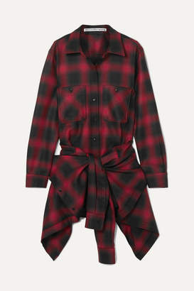 Alexander Wang Checked Wool-flannel Playsuit - Red