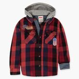 Levi's Boys (8-20) Button Front Hooded Plaid Twill Shirt