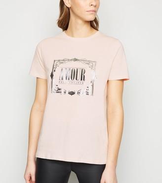 New Look Amour Metallic Slogan T-Shirt