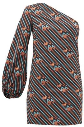 STAUD Paula Asymmetric Frog-print Cotton Mini Dress - Black Multi