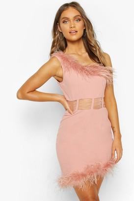 boohoo One Shoulder Panelled Feather Trim Mini Dress