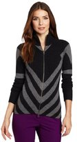 Minnie Rose Women's 100% Cashmere Chevron Striped Zip Sweater