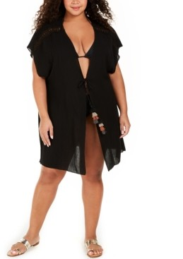 Becca Etc Plus Size Solid Globe Trotter Cover-Up Kimono Women's Swimsuit