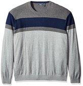 Izod Men's Big and Tall Fine Gauge Stripe Crew Sweater