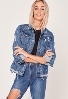 Missguided Las Vegas Scribble Denim Jacket Blue