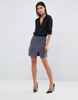 Vila Zip Detail Suede Mini Skirt