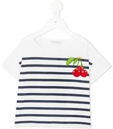 Dolce & Gabbana cherry embroidered striped T-shirt - kids - Cotton/Viscose - 4 yrs