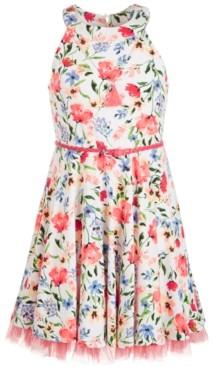 Beautees Big Girls Floral-Print Belted Dress