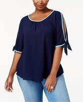 ING Trendy Plus Size Split-Sleeve Top