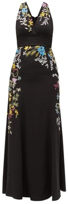 Etro Bristol Floral-embroidered Silk Gown - Womens - Black Multi