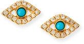Sydney Evan Jewelry Small Turquoise Cabochon & Diamond Evil Eye Single Earring