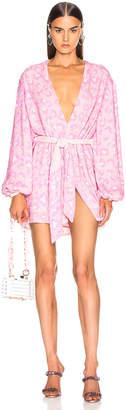 retrofete for FWRD Gabrielle Robe Dress in Baby Pink Leopard | FWRD