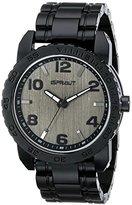Sprout Unisex ST/7003GYBK Grey Bamboo Dial Black Resin Bracelet Watch