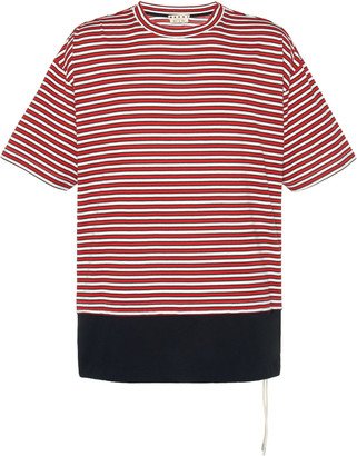 Marni Logo-Embroidered Striped Cotton-Jersey T-Shirt