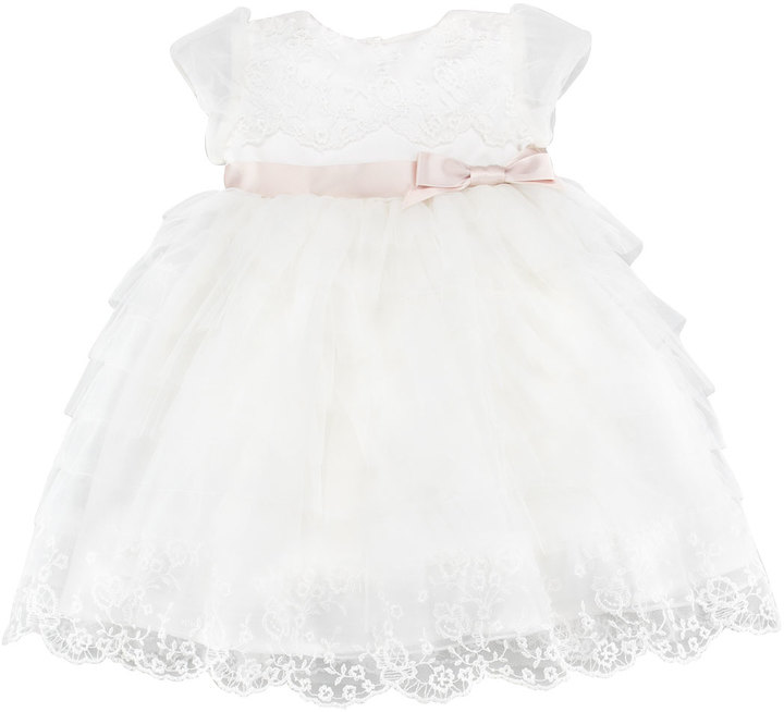 Joan Calabrese Satin, Lace & Tulle Dress, Ivory, 6-24 Months