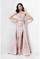 Terani Evening - Floral Printed Deep V-neck with Overskirt Evening Dress 1711M3385