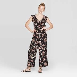 Xhilaration Women's Floral Print Flutter Short Sleeve V-Neck Smocked Waist Jumpsuit - XhilarationTM