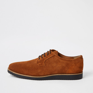 River Island Brown suede cleated derby shoes