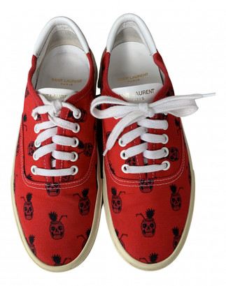 Saint Laurent Red Cloth Trainers
