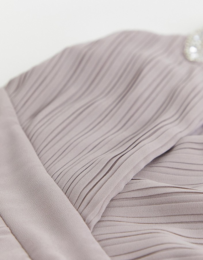 Thumbnail for your product : TFNC bridesmaid exclusive wrap midi dress with embellished shoulder in grey