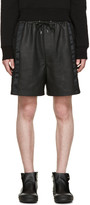 McQ by Alexander McQueen Black Leather Mix Shorts