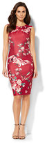 New York & Co. Crossover Sheath Dress - Bird & Floral Print