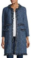 Theory Zarafilla Tweed Zip-Front Coat with Fringe Trim, Blue