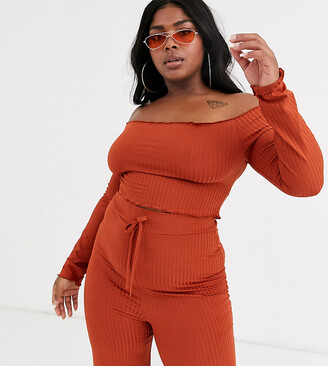 Fashionkilla Plus ribbed off shoulder frill crop top in rust