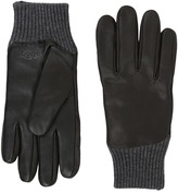 UGG Leather Smart Gloves/Knit Trim