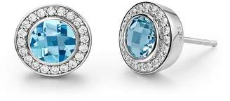 Lafonn Sterling Silver Bezel Set Round Cut Blue Topaz & Simulated Diamond Halo Stud Earrings