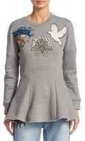 Alexander McQueen Medieval Embroidered Peplum Cotton Sweater