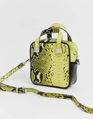 Sacred Hawk yellow snake box bag with cross body strap