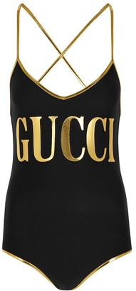 Gucci Black logo-print swimsuit